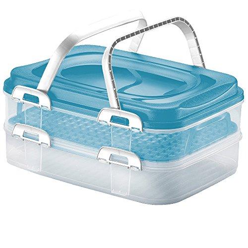 Deuba Party Container Transportbox Kuchenbox Aufbewahrungsbox Frischhaltebox | mit 2 Einsätzen und Tragegriff | 40 x 30 x 18cm | Pastellblau