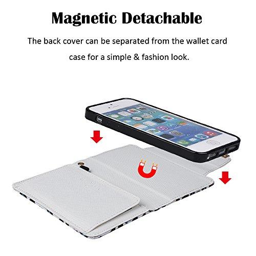 """xhorizon (TM) FM8 [Aktualisiert] 2 in 1 Premium Bunte Leopard Leder Brieftasche Kristallknopfverschluss Magnet Auto Mount Phone Halter Kompatibel Folio Tasche für iPhone 6 Plus/iPhone 6S Plus [5.5"""" iPhone 5 5S"""