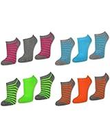 3 bis 12 Paar NEON Damen Sneaker Socken Ringel & Uni Bunte Damensocken Baumwolle - 36775 - Sockenkauf24
