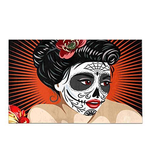 Soefipok Halloween mexikanischen Mädchens Tod in Zucker Schädel Make-up Haus Dekor Rutschfeste Bad Teppich Matte saugfähigen Badezimmer Bodenmatte Fußmatte (Make-up Zucker Schädel Mann)