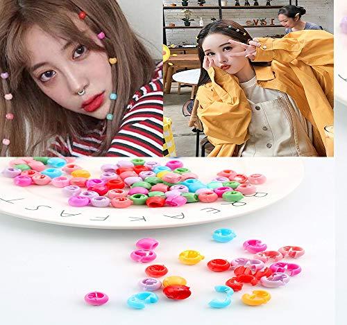 100 Stücke Bunte Kunststoff Perle Mini Haargreifer Clips, Jugendliche Kinder Regenbogen Zucker Haarspangen, Kleinkinder Kinder Mischen Farben