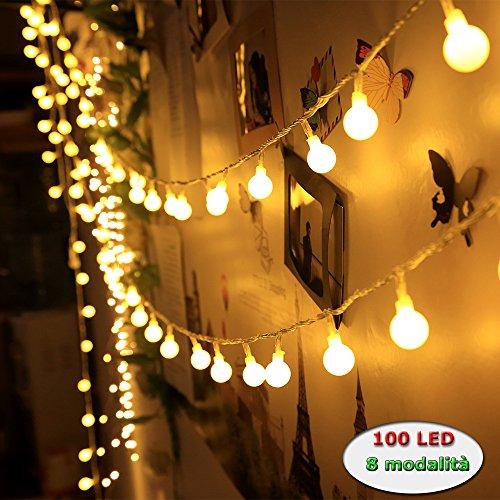 Innoo Tech - Guirlande lumineuse d'intérieur à LED - Globe de décoration - 10 mètres de 100 ampoules blanc chaud CC 31 V - Éclairage d'ambiance