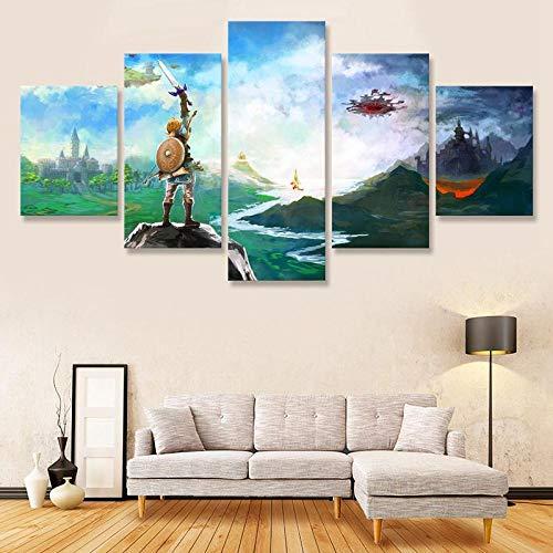 Muraon Die Legende von Zelda Link Master Schwert Leinwand Malerei 5 Panel Dekoration Poster Drucken Foto für Wohnzimmer Dekoration @ Framed_30X40 30X60 30X80cm (Schwert Link Master)