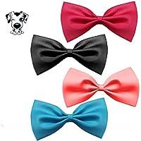 [Gesponsert]EROSPA® Fliege Hunde-Halsband Katze Welpe Haustiere Krawatte Bowknot Halsschleife 4 Farben Pink Schwarz Blau Magenta (Blau)