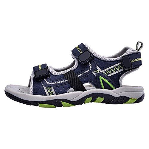 Eastlion Leder Kinder Boy's Wearable und Anti-Rutsch Sommer Strand Sandalen Hausschuhe Schuhe, Blau 30