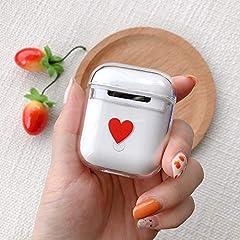 Idea Regalo - KANEED Custodia Protettiva PC con Disegno colorato a Prova di Cuore Rosso for Apple AirPods 1/2 custodie protettive per Cuffie/Auricolari