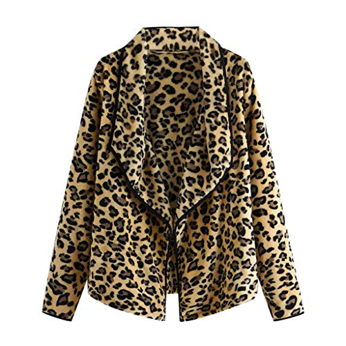 masrin Mantel Damen Oberteile Wintermode Leopard Strickjacke Plüsch lose unregelmäßiger Kragen Wolle Jacke Bluse(XL,Gelb) (Black 70's Fashion Kostüm)