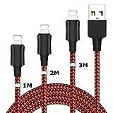 wuxian Cable Phone 3 Pack Cable Cargador Phone [1Metro, 2Metros, 3Metros]-Nylon Trenzado Duradero Cable de Carga Rápida Compatible con Phone XS/XR/X/8/8 Plus/7/6s/6Plus/6/Pad/Pod y más