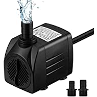 VicTsing 400GPH (1500L/H) Submersible Pump 25W Fountain Water Pump with 4.6ft Power Cord, 2 Nozzles for Aquarium, Fish Tank, Pond, Statuary, Hydroponics