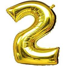 """Langxun 40 """"número 2 aire-llenado y globos de Mylar del oro del helio para las fuentes de la fiesta del cumpleaños"""