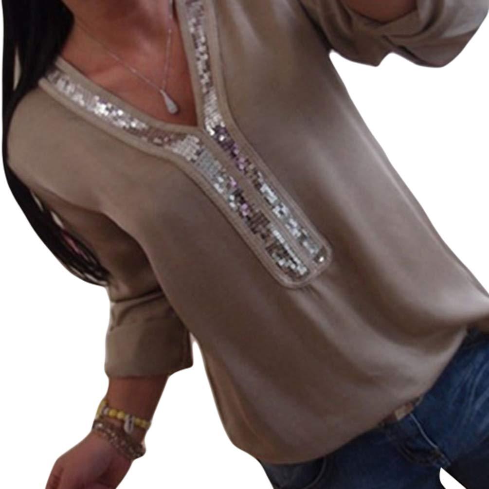 Kuncg Camicetta Donna Elegante Manica Lunga Blouse con Paillettes Camicie Tinta Unita Top T Shirt V Collo Bluse
