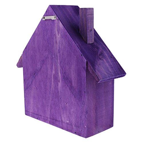 Homyl Estante de Madera Organizador Estuche de Almacenaje Forma de Casa Montado En Pared - Púrpura