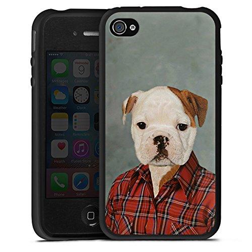 DeinDesign Silikon Hülle kompatibel mit Apple iPhone 4s Case Schutzhülle Hund Dog Bulldogge (Iphone 4s Hülle Silikon Hund)