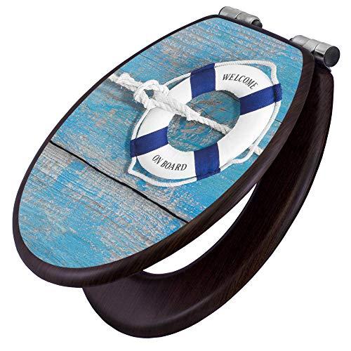 banjado Toilettensitz mit Absenkautomatik | WC-Sitz mit Motiv Blauer Rettungsring | Toilettendeckel MDF Holzkern | Klodeckel mit Metall Scharnieren