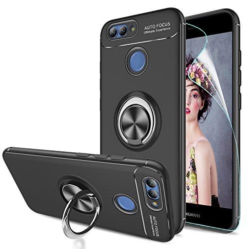 LeYi Hülle Huawei Nova 2 Handyhülle mit HD Folie Schutzfolie,Cover TPU Bumper 360 Grad Ring Stand Magnetische Autohalterung Slim Schutzhülle für Case Huawei Nova 2 Handy Hüllen JSZH Schwarz