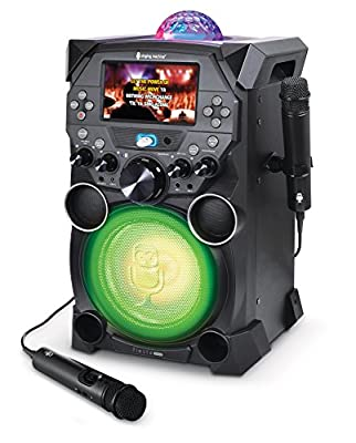 Singing Machine SDL9040 Bluetooth Karaoke System With Two Mics, LCD Screen, Rechargeable Battery and Disco Lights
