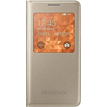 Samsung S-View Case Cover for Samsung Galaxy Alpha - Or