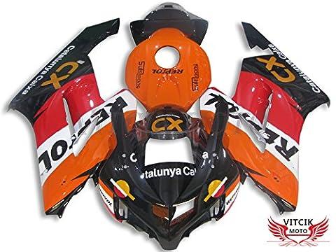VITCIK (Fairing Kits Fit for Honda CBR1000RR 2004 2005 CBR1000 RR 04 05) Plastic ABS Injection Mold Complete Motorcycle Body Aftermarket Bodywork Frame(Orange & Black)