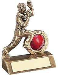 jr6-rf41a Brz/oro Mini Cricket Bowler trofeo–(1in Centre) 3.75in–incluye grabado gratis (hasta 30caracteres)