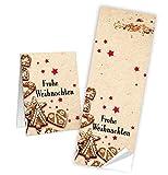 100 Weihnachtsaufkleber FROHE WEIHNACHTEN Aufkleber Lebkuchen rot beige natur Plätzchen Sticker 5 x 14,8 cm selbstklebende Etiketten für Papiertüten Geschenktüten als Verpackung