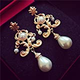 Fashion Pearl Ohrringe European & American Palace Perlen Ohrringe Barock Wind Korean Version der Brautweiß