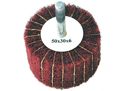Fächerschleifer mit Vlies-Gewebekombination 50mmx30mm, 6mm Einspannschaft, Körnung: 120 - Schleifmopstift, Lamellenschleifer, Schleifmop Schleifvlies, Lamellenrad mit Schaft.