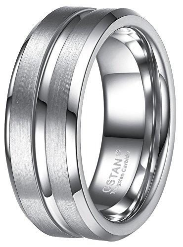 OSTAN Schmuck 8 MM Breite Wolframcarbid Herren Ring, Silber Gebürstet & Rille 62 (19.7)
