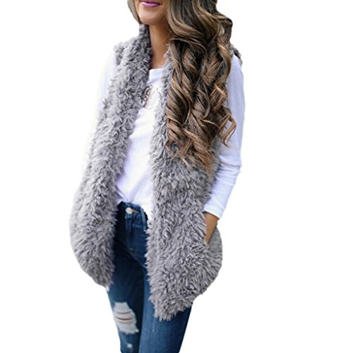 GreatestPAK Femme Sexy Lady Faux Fur Gilet Solide Casual Sans manches Gilet chaud Gris