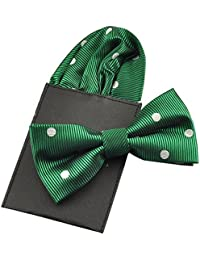 PenSee Mens Silk Hot Dot Solid Pre-Tied Bow Tie & Hanky Card Set - Various Colors