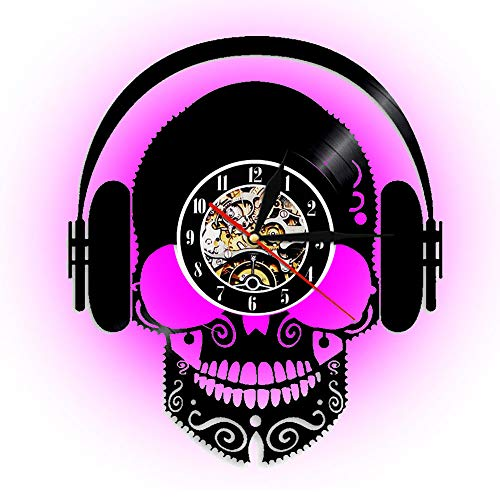 XINYIN Moderne LED-Vinyl-Rekordwanduhr, Skull Kopfhörer, um Musik zu hören personalisierte Uhr, Halloween Wall Art Decoration-Durchmesser 30cm (12 Zoll)
