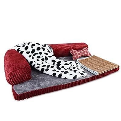 Petacc Cama para perros desmontable Ultra Soft Pet Sofa Fit perros y gatos de tamaño mediano (4 en 1 juego, incluye manta, almohada, colchoneta)
