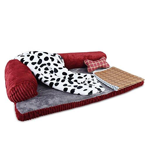 Petacc divano letto per animali, smontabile e morbido, adatto per cani e gatti di medie dimensioni (4 set in 1 set, cuscino, coperta e materasso inclusi)