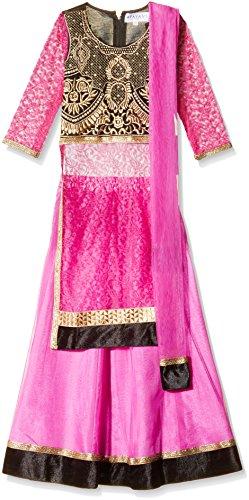 Atayant Girl Lehenga Choli (ATAYK_031_3:4YR_Black:Dark Pink_M)