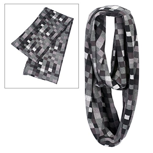 ladies-mens-knitted-tube-scarf-snood-cowl-hood-infinity-loop-headwear-black-grey-shades-pixel-checke