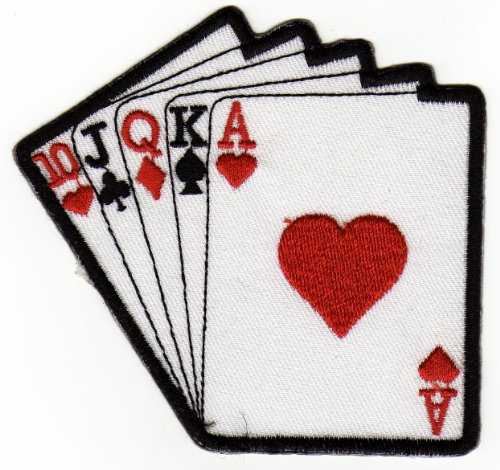 Aufnäher Bügelbild Aufbügler Iron on Patches Applikation Karten Royal Flush Poker Casino