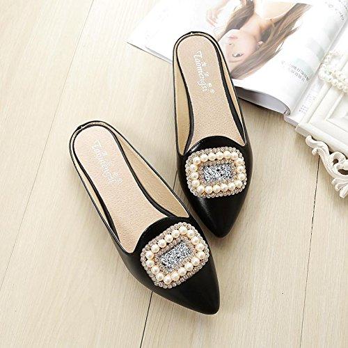 &qq Pantoufles femme, tête plate Baotou sandales, pantoufles antidérapantes sauvages, chaussures de mode 42
