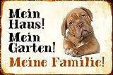 ComCard Mein Haus! Mein Garten! Meine Familie! Bulldogge Hund Schild aus Blech, Metal Sign, tin