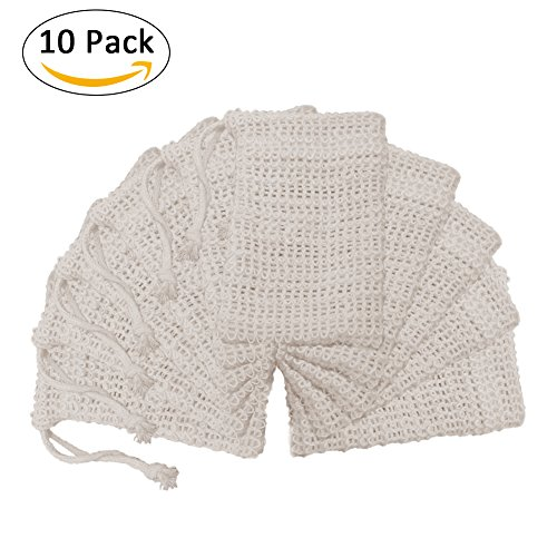 Bulary 10 PCS Soap Bags Natural Linen Facial Washing Shower Bath Soap Holder Bags