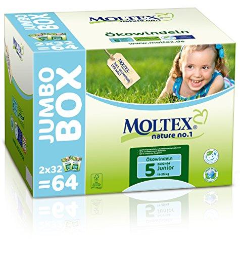 MOLTEX Nature no.1, Größe 5, 11-25kg, Ökowindel Junior Jumbo, 64 Stück
