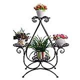 Huajia Eisen-Blumen-Stand Heart-Shaped Standing Vier Schichten Wohnzimmer Green Rettich Sukkulenten (Größe: 66cm * 22cm * 70cm) Schwarz