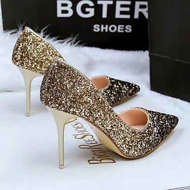 (Zormey Frauen Schuhe Glitter Stiletto Heel Heels/Spitze Zehe/Closed Toe Pumps Kleid Blau/Lila/Rot/Gold 3-In-3 3/4 In Golden)