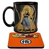 Magie Tassen Dragon Ball Z Farbwechsel Gogeta Kaffeebecher Wärme Reaktiver Becher und Untersetzer DBZ (Super Saiyan)