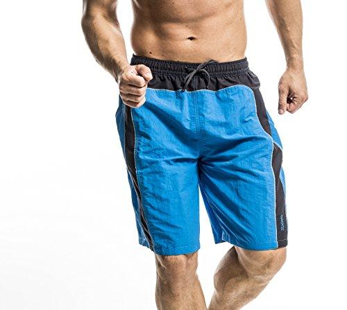 Short de bain pour homme bleu/vert/noir Bleu - Bleu