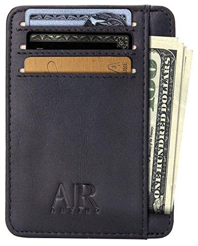 Vordertasche Kreditkarteninhaber mit RFID Schutz für Männer Geldbörsen für Herren Minimalistisches Echtleder Kreditkartenetui Portemonnaie Schlanker Kreditkartenhalter Geldbeutel (Texas Schwarz)