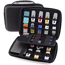Homeself Estuche rígido de viaje, organizador de dispositivos electrónicos pequeños, compartimentos para USB, impermeable