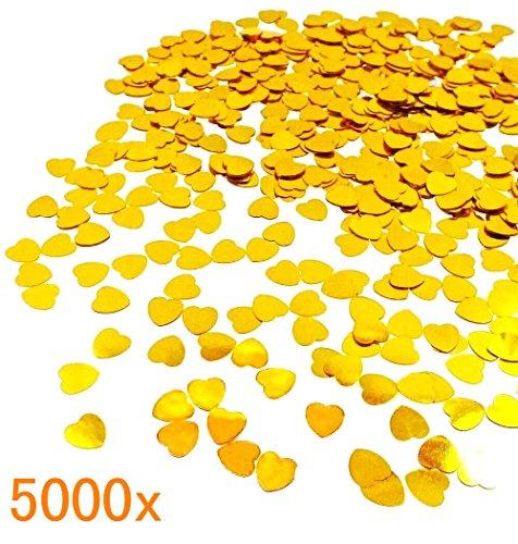 JZK® 5000 x 1cm Gold Herz Glitzer Plastik Konfetti Tisch Confetti, Handwerk Geschenk Dekorative Zubehör, für Hochzeit Geburtstag Valentinstag Party Taufe Baby Party (Gold Herz)