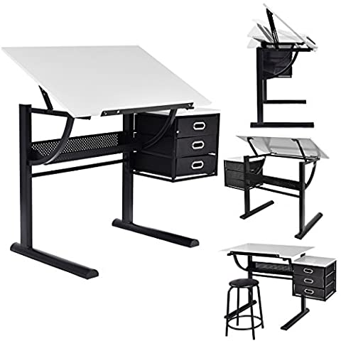 Costway Drafting Table Art and Craft Drawing Desk Art Hobby Folding Adjustable w/ Stool