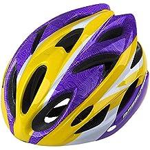GranVela® BC012casco de ciclismo, ligero colorido camino/montaña casco, tamaño ajustable para adultos, Yellow&Purple
