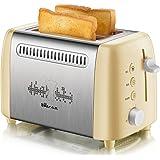 DZW 2 Slice Retro Toaster • 2 Slots • Verbreitung der Brotrinne • 680 W • Abtauung • Auftau- und Aufwärmfunktion • Rostfrei • Abnehmbarer Krümelbehälter • Gelb Multifunktion