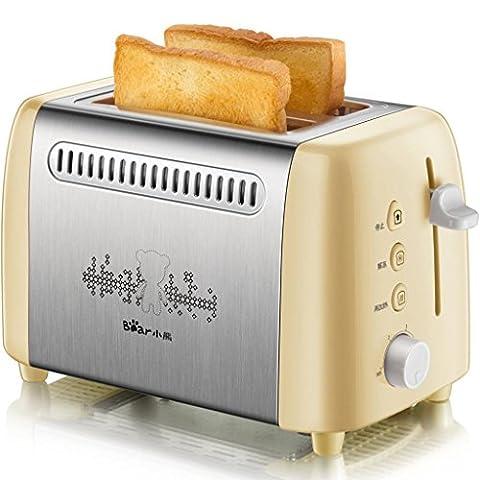 DZW 2 tranches de grille-pain rétro • 2 fentes • élargir la cuvette de pain • 680 W • fonction de dégivrage • fonction de décongélation et de réchauffage • inox • récipient à miettes amovible • jaune Multifonctions